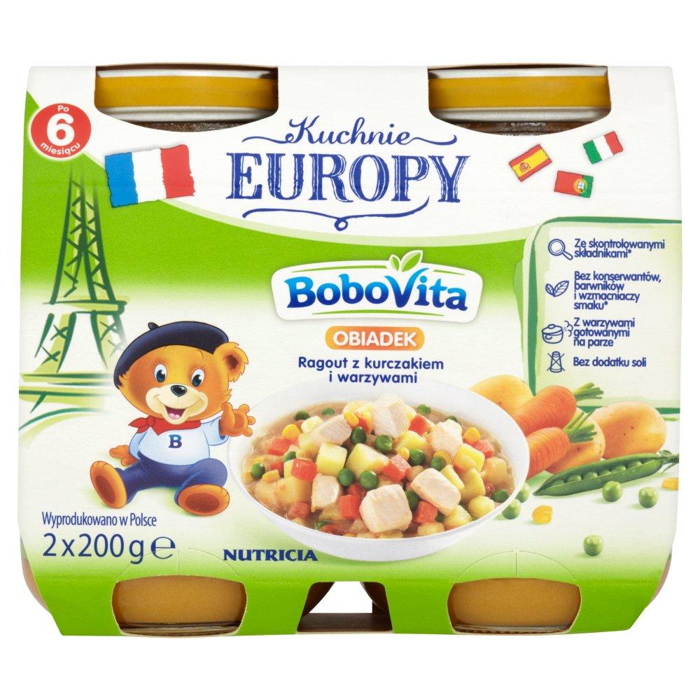 Bobovita Kuchnie Europy Obiadek Ragout Z Kurczakiem I Warzywami Po 6 Miesiącu 2 X 200 G