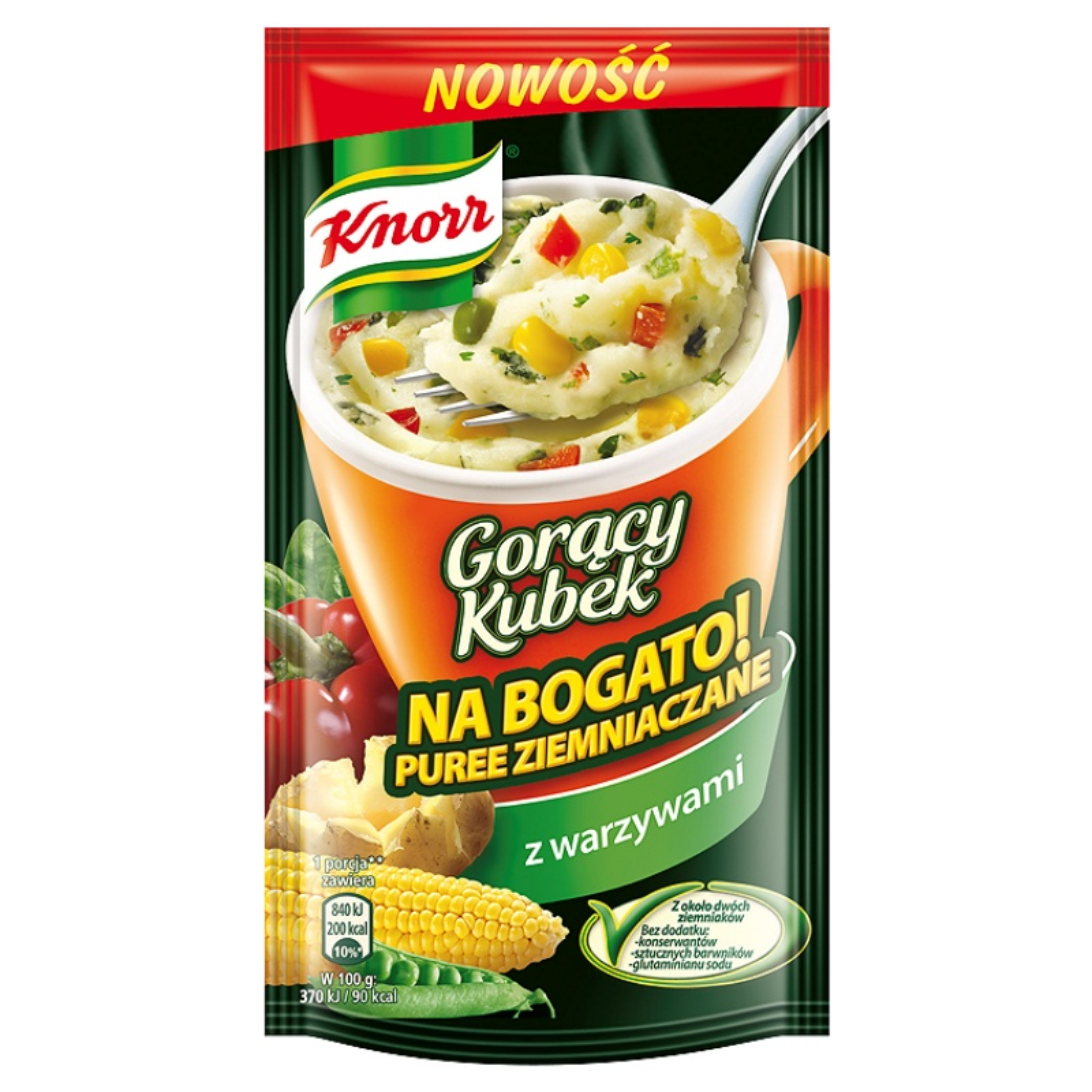 Znalezione obrazy dla zapytania Knorr Gorący Kubek Na bogato! Puree ziemniaczane z warzywami