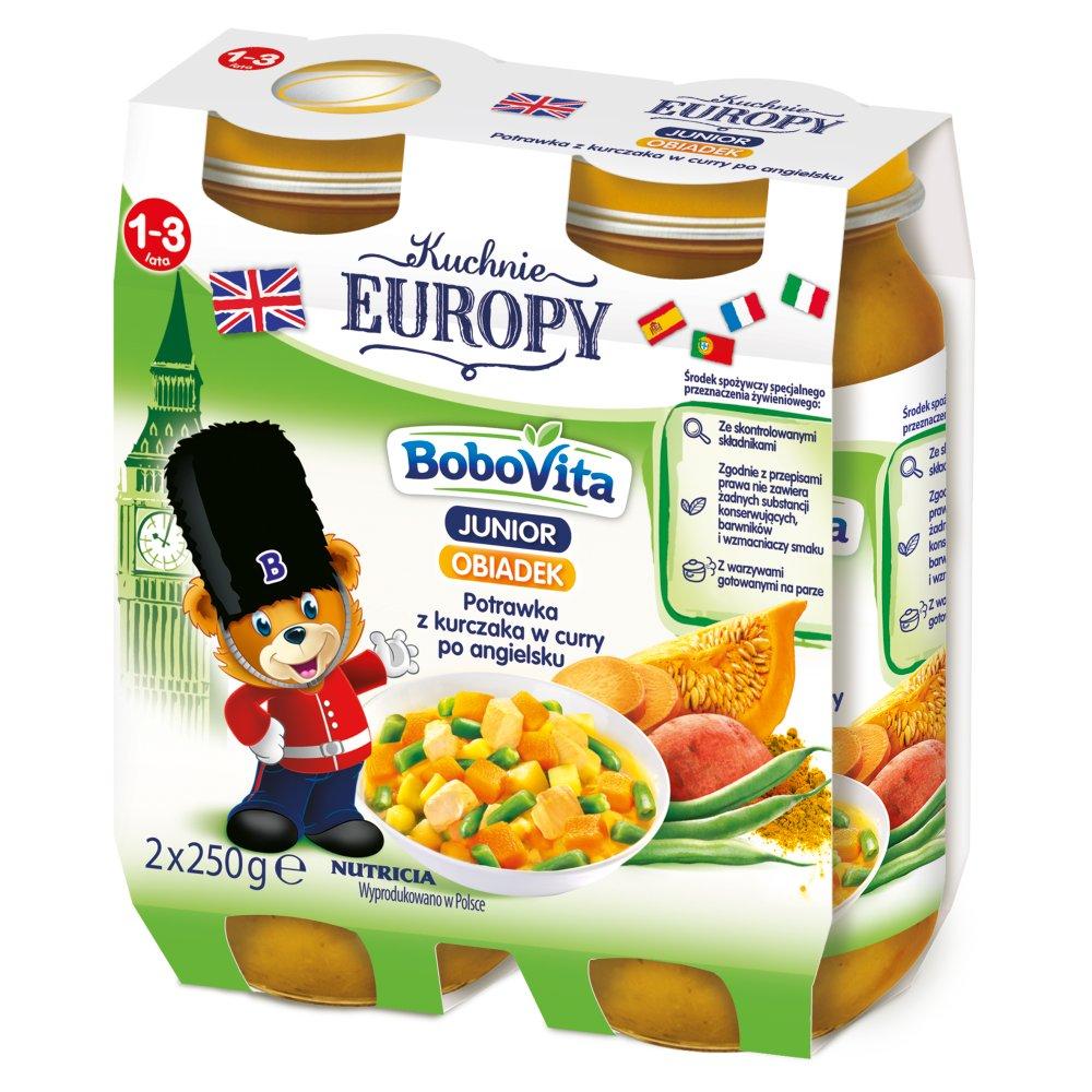 Bobovita Junior Kuchnie Europy Obiadek Potrawka Z Kurczaka W Curry Po Angielsku 1 3 Lata 2 X 250 G